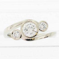 three stone bezel set diamond ring, hammered band - Google Search