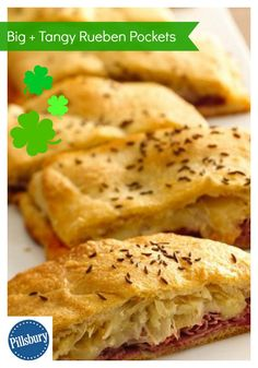 Big & Tangy Reuben Pockets! Serve your family with this pie made using corned beef, sauerkraut and Pillsbury Big & Flaky dinner rolls – a tasty dinner. Festive for St. Patrick's Day!