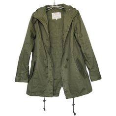 Vedem Women's Hooded Drawstring Military Jacket Parka Coat Army Green ($29) via Polyvore