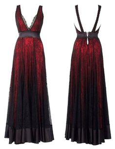 Lace Story Dramatic A-Line Red Lining and Black Lace Floor-Length Dress Designed by Michal Negrin with Open Back and Corset Waist Band