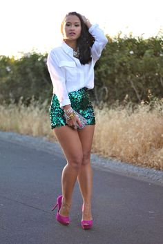 Top: Equipment signature white blouse; Bottom: DIY green sequin high waisted shorts; Shoes: Zara fuchsia pumps; Purse: NaTasha Couture crystal clutch