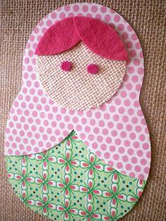 matryoshka framed fabric collage