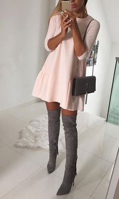 pink cute date dress look