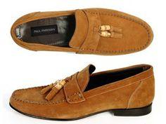 Paul Parkman Men's Bamboo Tassel Loafer Tobacco Suede (ID#5407)