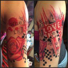 Risultati immagini per trash polka tattoo designs + crosshair Upper Half Sleeve Tattoos, Half Sleeve Tattoos Drawings, Tattoos For Women Half Sleeve, Half Sleeve Tattoos Designs, Best Sleeve Tattoos, Tattoo Designs And Meanings, Tattoos With Meaning, Tattoos For Guys, Tattoos Pics