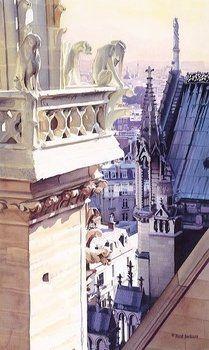"""Paris, France - """"Cathedral of Notre Dame"""" by Paul Jackson Art Et Architecture, Watercolor Architecture, Architecture Details, Watercolor City, Watercolor Landscape, Watercolor Sketchbook, Maurice Utrillo, Paul Jackson, Belle Villa"""