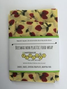 Strawberry Embossed beeswax food covers. The natural replacement to plastic food wrap.  Keeps your food fresh and delicious and best of all plastic FREE!!   eco friendly food wrap. Available to purchase via our website.