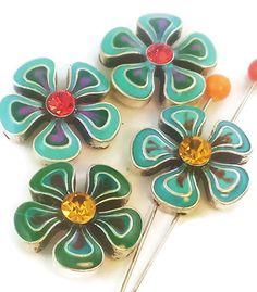4 enamel floral 2 hole slider beads d3