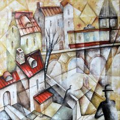 By The Riverby Eugene Ivanov  #eugeneivanov #cubism #avantgarde #threedimensional #cubist #artwork #cubistartwork #abstract #geometric #association #@eugene_1_ivanov