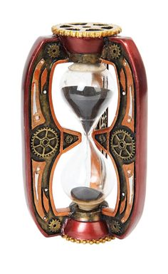 #Rusty clolor #steampunk #gearwork design sandtimer hourglass figurine sci fi the,  View more on the LINK: 	http://www.zeppy.io/product/gb/2/361593513774/