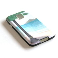 Beach illustration cell phone cover Soft TPU Gel by liatib on Etsy