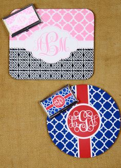 Mouse Pad Business Card Case Combination Gift Set Monogrammed Gifts Personalized Mousepad Computer Accessories Custom Desk Coworker Office by ChicMonogram on Etsy