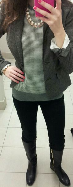 Banana Republic fashion #workwear #rednails #boots