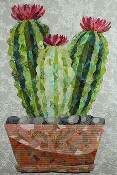 The Cactus Collage Quilt pattern is a great introduction to making a collage quilt. With the enclosed pre-printed foundation panel, Cactus is a fun an easy pattern designed to help you achieve great results! Simply let the gray areas of the foundation panel guide your fabric selection and fabric placement-- it's li
