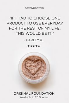 Original Foundation is a Glammy Award Winner for 10 years and counting. This cult-favorite mineral foundation gives you flawless coverage, with a no-makeup look & feel that lasts up to 8 hours. It diminishes the appearance of imperfections without drying out skin. Our groundbreaking formula is clinically proven to promote clearer, healthier-looking skin. Formulated without parabens, binders, fillers, or synthetic chemicals. Available in 20 shades in at bareMinerals.com