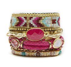 The Hipanema Cerise bracelet features a uniquehandmade piece made of pink…