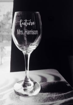 A personal favorite from my Etsy shop https://www.etsy.com/listing/549907257/bride-to-be-wine-glass-future-mrs