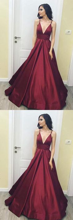 Simple V-Neck Floor-Length Satin Burgundy Prom Dress with Pockets PG485 #burgundy #prom #dress #promdresses #homecoming