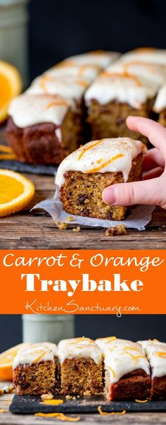 A fluffy moist carrot tray bake with orange infused raisins and zesty cream cheese frosting!