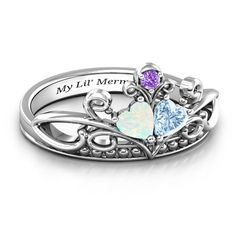 Double Heart Gemstone Ring With Accents Tie The Knot