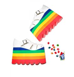 rainbow candy platforms kawaii harajuku pop kei space grunge neogal fachin rainbow platforms flatforms plus size shoes plus shoes dollskill Rainbow Shoes, Rainbow Sandals, Rainbow Candy, Gold Shoes, Gold Sandals, Shoes Sandals, Heeled Sandals, Heels, Rainbow Braids