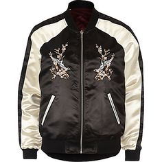 Black satin embroidered reversible bomber £30.00