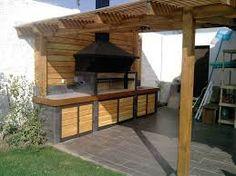 Imagen relacionada Outdoor Kitchen Bars, Outdoor Oven, B&q Kitchens, Outdoor Areas, Outdoor Structures, Brick Grill, Small Backyard Design, Backyard Paradise, Bbq Area