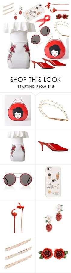 """Roses and strawberries solve everything"" by roohani ❤ liked on Polyvore featuring Wild & Wolf, Jennifer Behr, WithChic, Dorateymur, Gucci, Casetify, Sony, Kate Spade, Kitsch and Dolce&Gabbana"