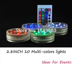 4pcs/lot Wholesale 2.8inch Submersible LED Light,10 Multi-colors LEDs,Remote Controlled,3AAA Batteries operated Floral Light #Affiliate