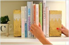 Tired of looking at plain white walls and brown old furniture? Well, spice things up with these easy DIY ideas that will transfrom your room in a matter of seconds. Brick Bookends Raise your hand if you love to read.