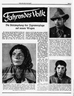 "Page of a propaganda article titled ""Vagabonds: New Ways of Combating the Gypsy Plague."" Campaigns against the Roma exploited racial prejudice and popular stereotypes to justify their arrest and internment"