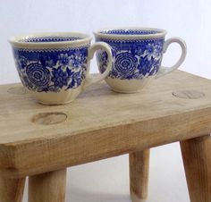 Villeroy & Boch Mettlach, 2 x coffee cups, Burgenland collection, made in Germany, blue transferware, 1920s, rare