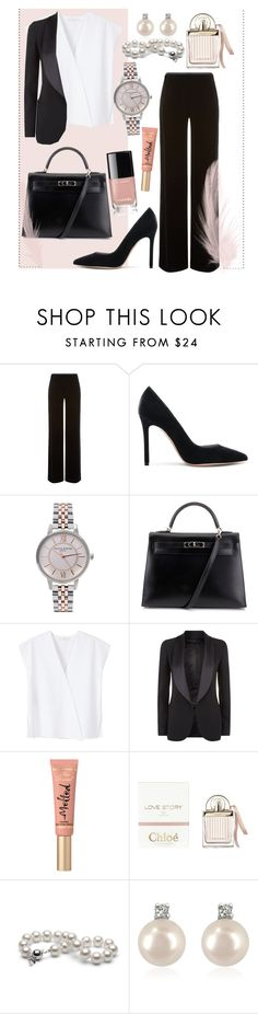 """""""International Suit-up day!"""" by anna-fredriksson ❤ liked on Polyvore featuring Armani Collezioni, Gianvito Rossi, Olivia Burton, Hermès, MANGO, Elie Saab, Too Faced Cosmetics, Chloé and Forzieri"""