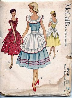 Vintage 50s Dress & Apron Sewing Pattern McCall's 8958