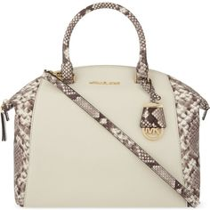 MICHAEL MICHAEL KORS Riley large snake print leather satchel (975 BRL) ❤ liked on Polyvore featuring bags, handbags, ecru, leather satchel handbags, genuine leather purse, handbag satchel, satchel purses and white leather satchel