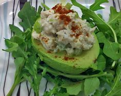 Avocados Stuffed with Chicken Salad Recipe You can make your chicken salad with plain yogurt instead of mayonnaise to make it lighter #avocado #chicken