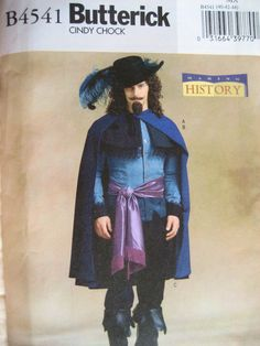 Butterick 4541 Halloween Costume Pattern Musketeer Cape French