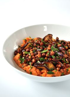 Recipe: Harissa Roasted Chickpeas and Aubergine with Sweet Potato Mash - The Veg Space