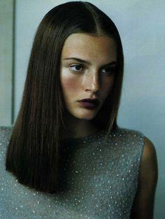 #Bridget Hall, #purple lipstick, sleek hair