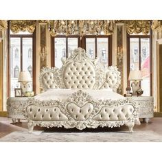 This Morrigan Luxurious Traditional Upholstered Panel Bed Luxury Bedroom Sets, Luxury Bedroom Furniture, Luxurious Bedrooms, Dream Bedroom, Home Bedroom, Bedroom Decor, Victorian Bedroom Furniture, Fancy Bedroom, Master Bedroom