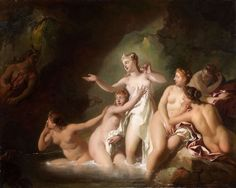 Diana and Actaeon by my favorite 18th century artist, Jean Francois de Troy.  The theme of Diana and Actaeon has been treated several times by de Troy but in this one he features Diana bathing with five voluptuous nymphs in a cave in diaphanous light, Actaeon, dimly lighted, arises from the left ; two dogs complete the composition.  Sexy, non?