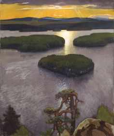 Symbolic Landscape from Hole - Eero Järnefelt , Finnish, oil on canvas, 115 cm in) x 96 cm in) Old Paintings, Nocturne, Oeuvre D'art, Landscape Art, That Way, Oil On Canvas, Illustration Art, Illustrations, Abstract Art