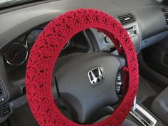 Crochet Steering Wheel Cover - burgundy want this for my next car!!!