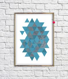 Triangles abstract Print Home art decor by CherryPosters on Etsy