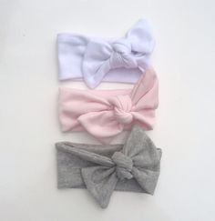 Baby Headwraps Set of 3, Pink Headwrap, Grey, Top Knot Headwrap, Fabric Stretch Headwrap, Baby Headband