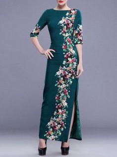 Vintage Printed Half Sleeve Maxi Dress