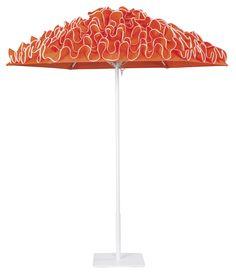 Flamenco aluminum umbrella with White frame in Mango, with Whitecap edge binding.