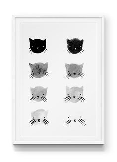 Greyscale Kitties Print – Stay Home Club