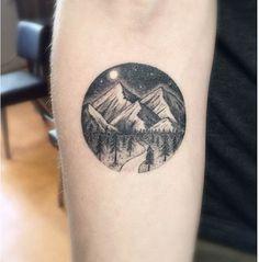 Really nice mountain tattoo at night
