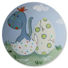 Hatching baby dinosaur kids drawer pulls decorative knobs. Add fun and whimsy to your child's dresser, nightstand, cabinets, closets (the possibilities are endless really). Perfect for little boys rooms, girls rooms, nursery and dinosaur lovers. Hand painted custom, personalize, kids nursery decor.